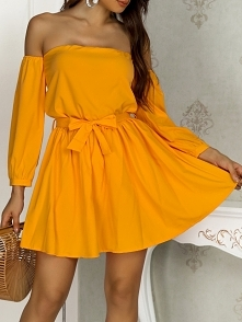 Trendy Off Shoulder Belted Casual Dress Rozmiar: S, M, L, XL Kolor: yellow