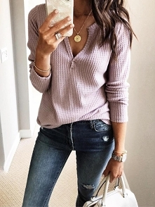 Solid V-Neck Long Sleeve Casual Top Rozmiar: S, M, L, XL Kolor: light pink