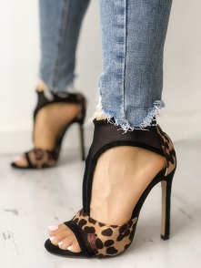 Leopard Mesh Patchwork Thin Heeled Sandals  Rozmiar: US4.5, US5.5, US6, US7, US8, US8.5, US9.5, US10, US11 Kolor: Multicolor
