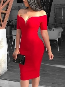 Solid Off Shoulder Short Sleeve Bodycon Dress Rozmiar: S, M, L, XL Kolor: red