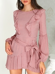 Ruffle Bishop Sleeve Self-belted Wrapover Hem Dress Rozmiar: S, M, L, XL Kolor: pink
