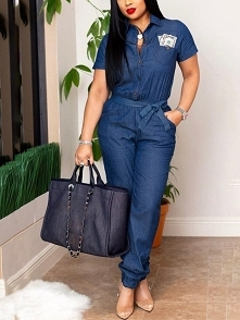 Short Sleeve Pocket Design Belted Denim Jumpsuit Rozmiar: S, M, L, XL, 2XL Kolor: blue