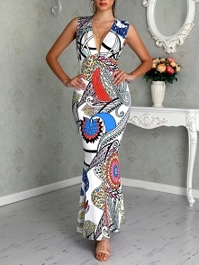 Digital Print Deep V Neck Sleeveless Maxi Dress Rozmiar: S, M, L, XL Kolor: Multicolor