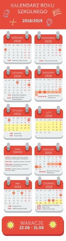 Super kalendarz na nowy rok szkolny! Z najważniejszymi wydarzeniami!
