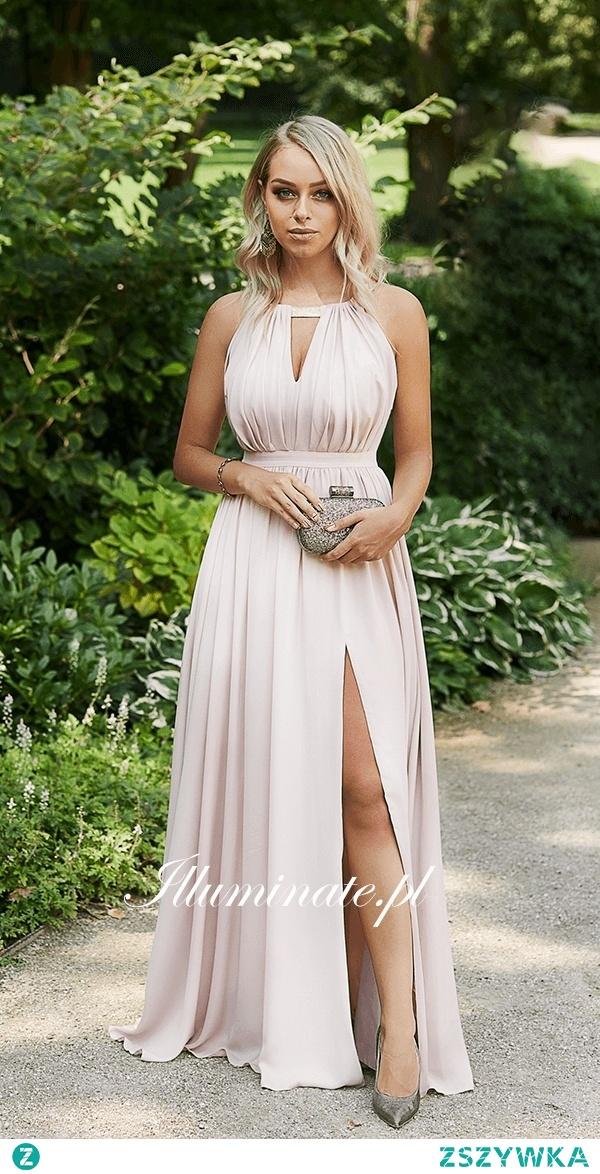 Długa sukienka nude z kolekcji Illuminate <3 Idealna dla druhny <3