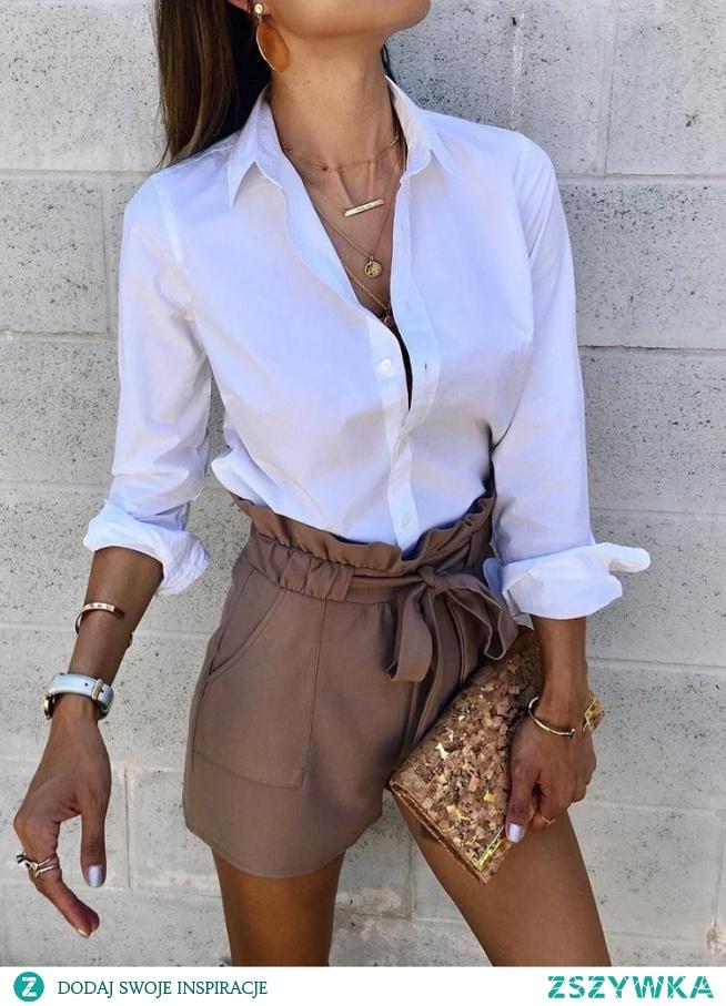 Solid long Sleeve Button Through Shirt Rozmiar: S, M, L, XL Kolor: white