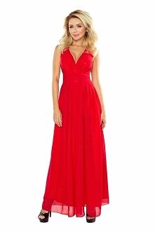 Czerwona Sukienka Wieczorowa Maxi z Dekoltem V