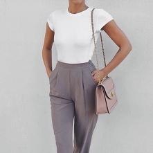 Elegancka stylówka z szarymi spodniami
