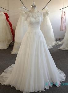 Przedmiot: H1612 Niedrogi Skromna biała szyfonowa suknia ślubna z rękawami Cena >>> 388 USD Bezpłatna wysyłka na cały świat