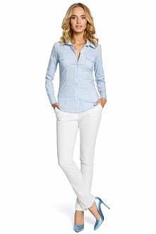 Błękitna Klasyczna Taliowana Koszula z Długim Rękawem
