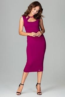 Imprezowa sukienka midi z elastycznego materiału