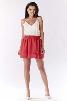 Różowa Spódnica Mini z Podwójną Falbanką