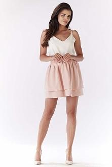 Jasno Różowa Spódnica Mini z Podwójną Falbanką