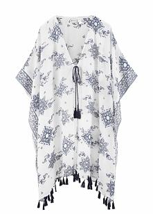 Kimono plażowe bonprix biało-niebieski z nadrukiem