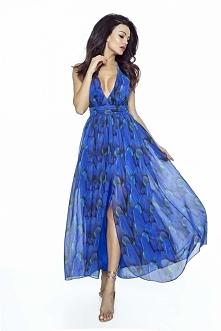 Elegancka Suknia Maxi w Pióra