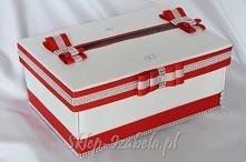 pudełko na koperty ślubne, czerwone i srebrne zdobienia