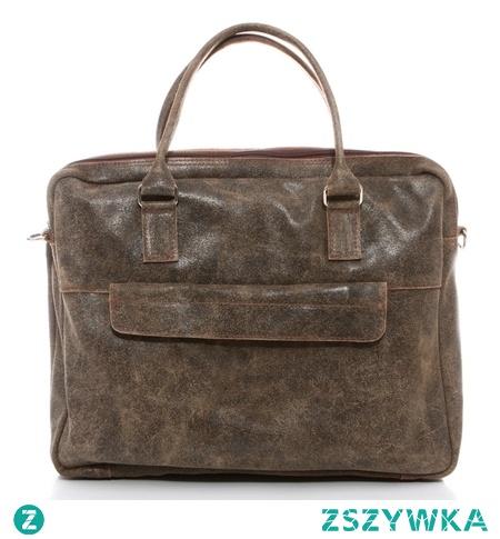 """Skórzana torba na laptopa 15,6"""" beżowa"""