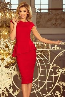 Czerwona sukienka midi z ba...