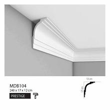 Listwa sufitowa MDB104 Mardom Decor z kolekcji Prestige to współczesna sztukateria dekoracyjna dużych rozmiarów. Elegancki łukowaty kształt z wykończeniem schodkowym imituje jak...