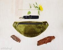 - nerka uszyta z aksamitu kolor oliwkowy, eko skaju (tył nerki) oraz bawełny ...