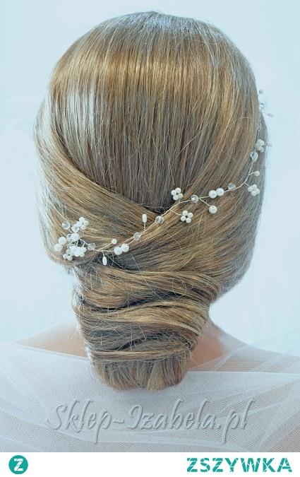 Gałązka z perełkami i kryształkami do fryzury na ślub