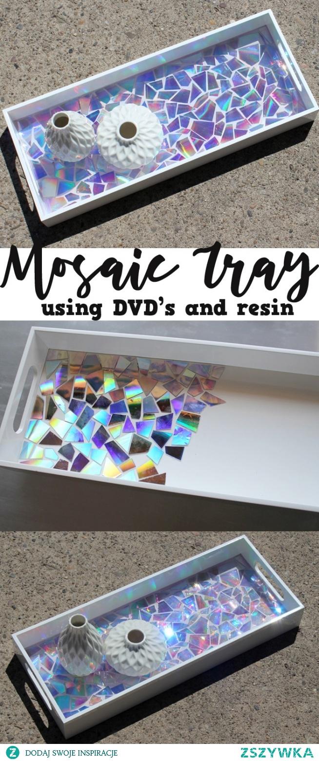 Tacka z płyt dvd handmade