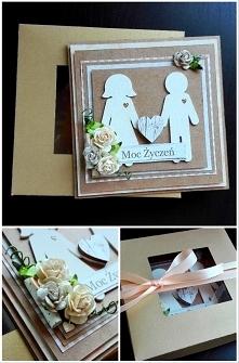 Kartka ślubna w złotym pude...