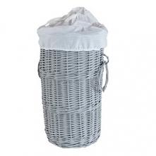 Wiklinowy kosz na papier toaletowy. Kosz w kolorze szarym z białym wkładem ma...