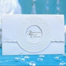 Zaproszenia na chrzest z ozdobnym tłoczeniem 10szt Piękne perłowe zaproszenia...