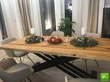 Stół z blatem ze starego dr...