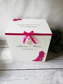 Pudełko na koperty, ślub, wesele. Fuksja. Zapraszam DECOREN