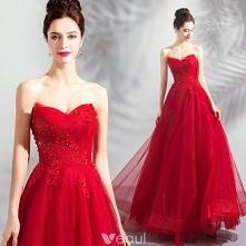 Uroczy Czerwone Sukienki Na Bal 2018 Princessa Frezowanie Kryształ Cekiny Z Koronki Kwiat Bez Ramiączek Bez Pleców Bez Rękawów Długie Sukienki Wizytowe