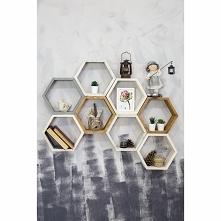 dekoracja  ścienna  w formie półek  heksagon stwórz  swoją własną kompozycję