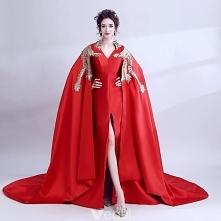 Niezwykły Czerwone Z Szalem Sukienki Wieczorowe 2018 Princessa Haftowane V-Szyja Bez Rękawów Trenem Sąd Sukienki Wizytowe