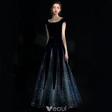 Uroczy Granatowe Gwiaździste Niebo Sukienki Wieczorowe 2018 Princessa Cekiny Zamszowe Wycięciem Kótkie Rękawy Bez Pleców Długie Sukienki Wizytowe