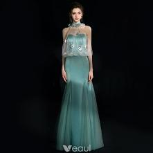 Uroczy Jade Zielony Sukienki Wieczorowe 2018 Syrena / Rozkloszowane Kryształ Rhinestone Kokarda Posiadacz Bez Pleców Bez Rękawów Długie Sukienki Wizytowe