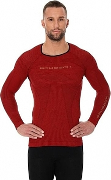 Brubeck Bluza męska 3D Run PRO z długim rękawem czerwona r. L (LS13000)