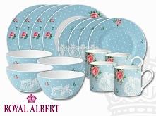 Royal Albert Komplet 16-częściowy, Polka Blue-Modern (609-0097)