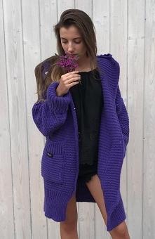 Sue Julie sweter fioletowy Rewelacyjny ciepły kardigan z pięknym dużym kaptur...