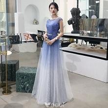 Stylowe / Modne Gradient-Kolorów Sukienki Wieczorowe 2018 Princessa Metal Szarfa Cekiny Wycięciem Bez Pleców Bez Rękawów Długie Sukienki Wizytowe