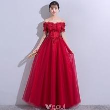 Eleganckie Burgund Sukienki Wieczorowe 2018 Princessa Z Koronki Kwiat Aplikacje Kryształ Bez Pleców Przy Ramieniu Kótkie Rękawy Długie Sukienki Wizytowe