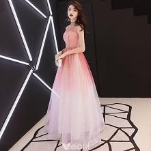 Eleganckie Gradient-Kolorów Sukienki Na Bal 2018 Princessa Cekiny Wycięciem Bez Pleców Bez Rękawów Długie Sukienki Wizytowe