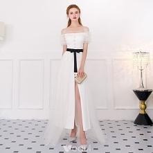 Stylowe / Modne Kość Słoniowa Sukienki Wizytowe 2018 Princessa Spaghetti Pasy Bez Pleców Kótkie Rękawy Długość Kostki Sukienki Wieczorowe