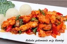 Ryba w lekko  pikantnym sosie po azjatycku - Fish in sweet - sour sauce