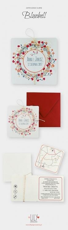 Kwiatowe zaproszenia ślubne z kolekcji Bluebell