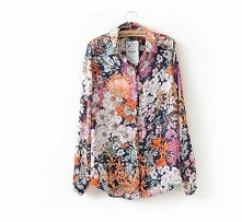 Granatowa koszula w kwiaty - trendy 2018