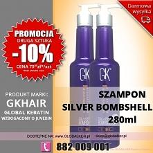 Global Keratin GK Hair szampon silver 280ml silver shampoo - sklep warszawa PROMOCJA  cena 79zł Promocja 2 sztuka -10% (wysyłka UPS od 9zł darmowa wysyłka od 99zł)  Szampon do c...