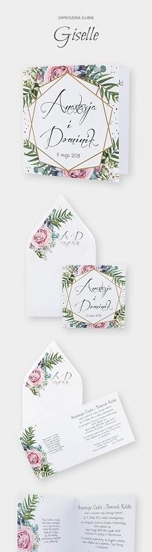 Kwiatowe zaproszenia ślubne z motywem geometrycznym. Kolekcja Giselle.
