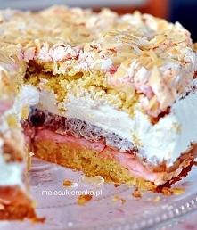 Ciasto z rabarbarem bezą i bitą śmietaną na te pyszności przepis po kliknięci...