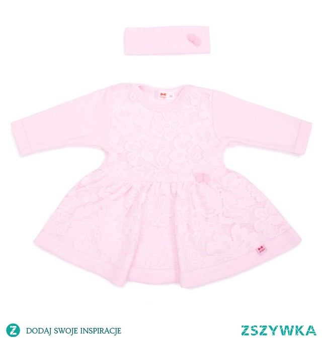Koronkowa Sukienka z opaską różowa Princess